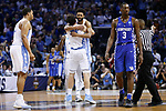 North Carolina Tar Heels guard Joel Berry II hugs forward Luke Maye after he hit a game winning shot against the Kentucky Wildcats during the 2017 NCAA Men's Basketball Tournament South Regional Elite 8 at FedExForum in Memphis, TN on Friday March 24, 2017. Photo by Michael Reaves   Staff