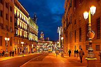Alcala street and Puerta del Sol, Madrid, Spain
