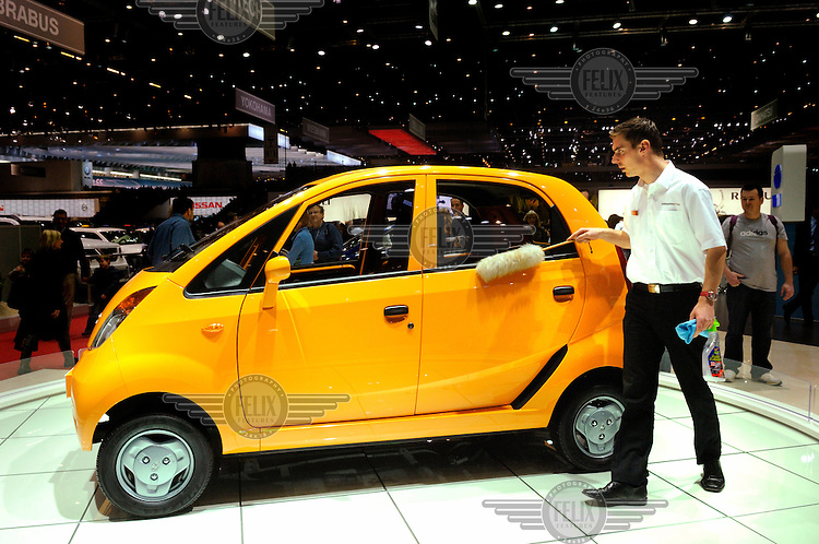 The Tata Nano, the world's cheapest car, due for release in the autumn for the Indian market at a retail price in the region of 120,000 Rupies (1,400 GBP), on display on the Tata stand at the Geneva Motor Show.