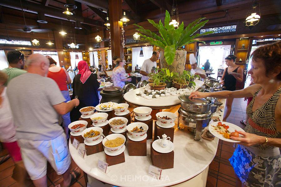 Malaysia, Langkawi. Meritus Pelangi Beach Resort & Spa. Breakfast buffet at Spice Market Restaurant.