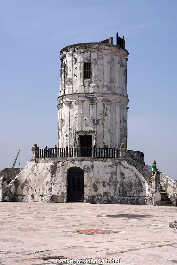 Colonial era lighthouse in the San Juan de Ulua fortress in the city of Veracruz, Mexico. This fort was built by the Spanish between 1552 and 1779 to protect Veracruz from pirates. It was used as a prison during the Porfirio Diaz regime.