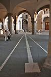 The 18th century sundial that cut a diagonal right through the atrium below the Palazzo della Ragione in Bergamo, Italy