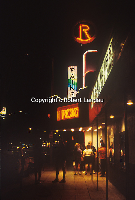The Roxy and Rainbow nightclubs on the Sunset Strip in Los Angeles circa 1980's