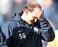 Preston North End's Manager Simon Grayson looks unhappy<br /> <br /> Photographer Mick Walker/CameraSport<br /> <br /> The EFL Sky Bet Championship - Preston North End v Norwich City - Monday 17th April 2017 - Deepdale - Preston<br /> <br /> World Copyright &copy; 2017 CameraSport. All rights reserved. 43 Linden Ave. Countesthorpe. Leicester. England. LE8 5PG - Tel: +44 (0) 116 277 4147 - admin@camerasport.com - www.camerasport.com