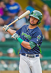 9 July 2015: Vermont Lake Monsters infielder Jesus Lopez takes a swing on deck during a game against the Mahoning Valley Scrappers at Centennial Field in Burlington, Vermont. The Lake Monsters rallied to tie the game 4-4 in the bottom of the 9th, but fell to the Scrappers 8-4 in 12 innings of NY Penn League play. Mandatory Credit: Ed Wolfstein Photo *** RAW Image File Available ****