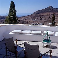 The roof terrace has far reaching views over the Patmos countryside to the sea