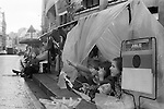 Silver Jubilee Street Party 1977 UK. Crowds rather the night before along the royal procession rout.<br /> <br /> My ref 9a/2062/,1977,