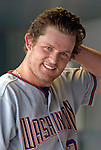 10 September 2006: Austin Kearns, outfielder for the Washington Nationals, looks down the dugout prior to a game against the Colorado Rockies. The Rockies defeated the Nationals 13-9 at Coors Field in Denver, Colorado...Mandatory Photo Credit: Ed Wolfstein.