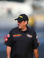 Aug. 4, 2013; Kent, WA, USA: NHRA crew member for top fuel dragster driver Troy Buff during the Northwest Nationals at Pacific Raceways. Mandatory Credit: Mark J. Rebilas-USA TODAY Sports