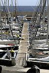 Yachts moored to wooden pontoon, San Miguel marina.  Tenerife, canary islands, Spain