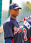 13 March 2012: Atlanta Braves catcher Christian Bethancourt awaits his turn in the batting cage prior to a Spring Training game against the Miami Marlins at Roger Dean Stadium in Jupiter, Florida. The two teams battled to a 2-2 tie playing 10 innings of Grapefruit League action. Mandatory Credit: Ed Wolfstein Photo