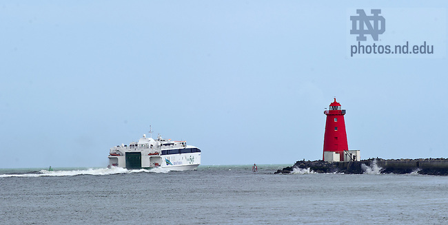 Aug. 29, 2012; A ferry heads out into the Irish Sea past the Poolbeg Lighthouse, Dublin, Ireland...Photo by Matt Cashore/University of Notre Dame