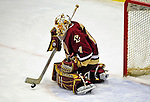 9 January 2009: Boston College Eagles' goaltender John Muse, a Sophomore from East Falmouth, MA, keeps the overtime period scoreless during the first game of a weekend series against the University of Vermont Catamounts at Gutterson Fieldhouse in Burlington, Vermont. The Catamounts scored with one second remaining in regulation time to earn a 3-3 tie with the visiting Eagles. Mandatory Photo Credit: Ed Wolfstein Photo
