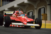 LONG BEACH, CA - MARCH 15: Gilles Villeneuve of Canada drives his Ferrari F126CK 051/Ferrari 021 during the United States Grand Prix West FIA Formula One World Championship race on the temporary Long Beach Street Circuit in Long Beach, California, on March 15, 1981.