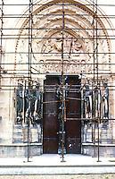 """Paris: Abbey of Saint-Denis. North Porch, transept, """"Valois Door"""",12th centuy. (1170)  Photo '90."""