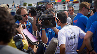 BRAZIL, Itajai.10th April 2012. Volvo Ocean Race. Franck Cammas, Skipper Groupama is interviewed by the media.