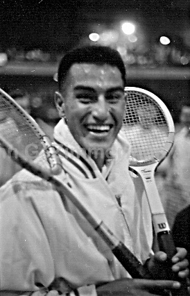 Alex Olmedo at the National Indoor Tennis Championships, Seventh Regiment Armory, New York City, 1959. Photograph by John G. Zimmerman.