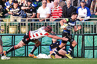 Jeff Williams of Bath Rugby looks to get past Gareth Evans of Gloucester Rugby. West Country Challenge Cup match, between Bath Rugby and Gloucester Rugby on September 26, 2015 at the Recreation Ground in Bath, England. Photo by: Patrick Khachfe / Onside Images