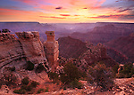 Sunrise over the Grand Canyon from the South Rim. In the distance is the Colorado River.