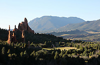 Cathedral Valley with hogback formations and sentinels, Garden of The Gods, an area of geological rock formations protected as a public park, near Colorado Springs, Colorado, USA. The formations are the result of vertical tilting due to the uplift forces of the Rocky Mountains and the Pikes Peak massif, of the horizontal layers of sandstones, conglomerates and limestones, resulting after erosion in the formation of fins and pinnacles. Native Americans have visited the area since 1330 BC and camped here since 250 BC, sheltering under the cliffs and producing rock art. The Garden of the Gods was listed as a National Natural Landmark in 1971. Picture by Manuel Cohen