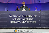 United States President Barack Obama speaks at the groundbreaking of the Smithsonian National Museum of African American History and Culture in Washington, D.C. on Wednesday, February 22, 2012. The museum is scheduled to open in 2015 and will be the only national museum devoted exclusively to the documentation of African American life, art, history and culture. .Credit: Andrew Harrer / Pool via CNP