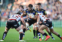 Guy Mercer of Bath Rugby takes on the Gloucester defence. West Country Challenge Cup match, between Bath Rugby and Gloucester Rugby on September 26, 2015 at the Recreation Ground in Bath, England. Photo by: Patrick Khachfe / Onside Images