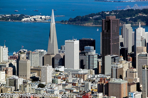 aerial photograph Transamerica pyramid, Bank of America Center, Treasure Island, San Francisco, California