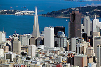 aerial photograph Transamerica pyramid, Bank of America Center, Treasure Island, San Francisco, California