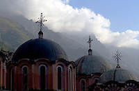 Rila Monastery. Located on Mount Rila, the highest mountain on the Balkan Peninsula. The spiritual destination was founded in the 10th century by Saint John of Rila. The monastery is a UNESCO World Heritage site. Rila, Bulgaria, 2005