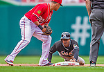 22 September 2013: Miami Marlins outfielder Juan Pierre steals second base during game action against the Washington Nationals at Nationals Park in Washington, DC. The Marlins defeated the Nationals 4-2 in the first game of their day/night double-header. Mandatory Credit: Ed Wolfstein Photo *** RAW (NEF) Image File Available ***