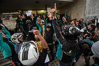 Deliveroo couriers on wildcat strike hold a protest outside their company offices over a new contract being imposed by management. 11-8-16