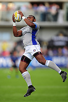 Semesa Rokoduguni of Bath Rugby claims the ball in the air during the pre-match warm-up. Pre-season friendly match, between Leinster Rugby and Bath Rugby on August 26, 2016 at Donnybrook Stadium in Dublin, Republic of Ireland. Photo by: Patrick Khachfe / Onside Images