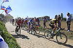 The peloton including Lars Boom (NED) Lotto NL-Jumbo on pave sector 29  Troisvilles a Inchy during the 115th edition of the Paris-Roubaix 2017 race running 257km Compiegne to Roubaix, France. 9th April 2017.<br /> Picture: Eoin Clarke | Cyclefile<br /> <br /> <br /> All photos usage must carry mandatory copyright credit (&copy; Cyclefile | Eoin Clarke)