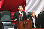 Mexico State Governor Enrique Pena Nieto addresses his second state of office before the Chamber of Deputies in Toluca city, some 50 km from Mexico City, September 5, 2007. At his left it appears Francisco Ramirez Acuna, the secretary of Interior of Felipe Calderon´s government. Photo by Javier Rodriguez