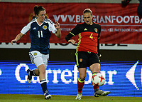 20170411 - LEUVEN ,  BELGIUM : Belgian Maud Coutereels (r)  pictured with Scottish Lisa Evans (left) during the friendly female soccer game between the Belgian Red Flames and Scotland , a friendly game in the preparation for the European Championship in The Netherlands 2017  , Tuesday 11 th April 2017 at Stadion Den Dreef  in Leuven , Belgium. PHOTO SPORTPIX.BE   DAVID CATRY