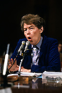 UN Headquaters, New York - March 2, 1984. U.S. Ambassador Jeane Kirkpatrick at the U.S. Senate Committee. She (December 19, 1926 - December 7, 2006) was the first female U.S. ambassador to the United Nations, who was renown for her support of anticommunist governments and authoritarian dictatorships.
