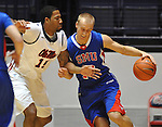 SMU's Aliaksei Patsevich (13) dribbles against Mississippi's Steadman Short (15) at the C.M. &quot;Tad&quot; Smith Coliseum in Oxford, Miss. on Tuesday, January 3, 2012. (AP Photo/Oxford Eagle, Bruce Newman)