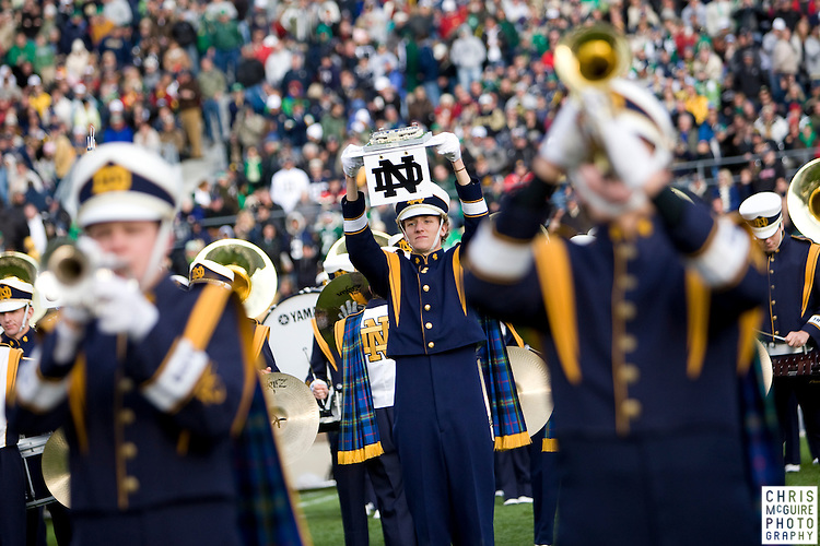 10/17/09 - South Bend, IN:  The Notre Dame marching band performs during halftime at Notre Dame Stadium on Saturday.  USC won the game 34-27 to extend its win streak over Notre Dame to 8 games.  Photo by Christopher McGuire.