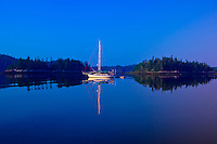 Sailboats moored in Holbrook Bay (part of Penobscot Bay), Maine USA