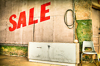 SALE sign on old building in Superior, Arizona