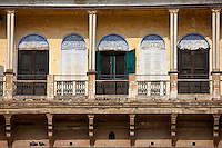 Indian architecture at the Ghats overlooking the Ganges River in City of Varanasi, Benares, Northern India