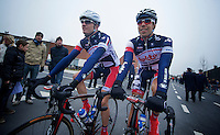 Kuurne-Brussel-Kuurne 2012<br /> Frederik Willems &amp; Jens Debusschere off to the start