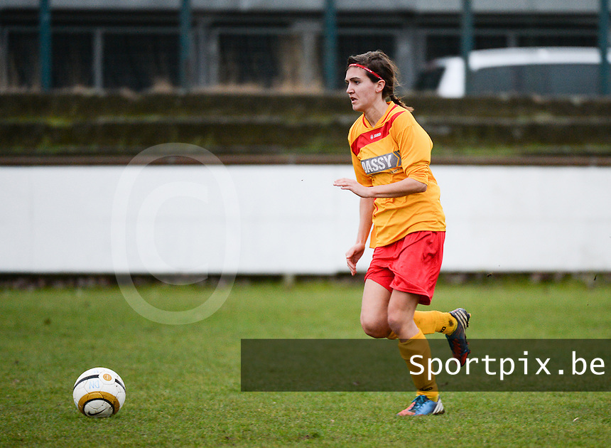 20140104 - AALTER , BELGIUM : Massenhoven's Charlotte Bollaert pictured during the female soccer match between Club Brugge Vrouwen and Massenhoven VC , of the 1/8 final matchday in the Belgian Women Cup competition. Saturday 4 January 2014 . PHOTO DAVID CATRY