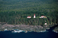 Pachena Point Lighthouse, West Coast, Vancouver Island, BC, British Columbia, Canada - Pacific Ocean, Aerial View