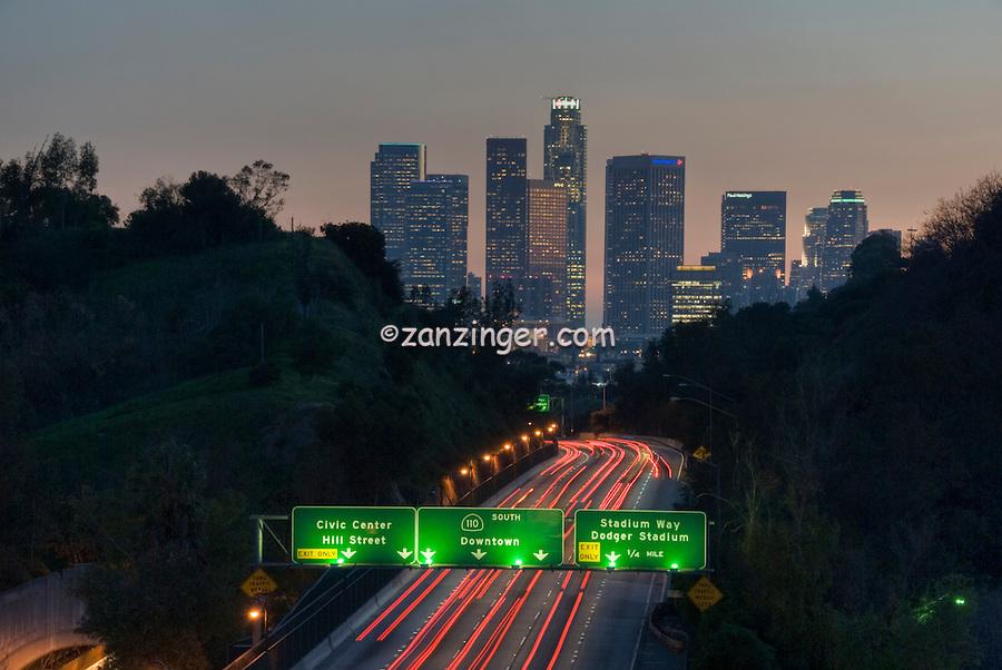 Los Angeles CA, Skyline, Sunset, Twilight, Night, Dusk, 110, Pasadena Freeway