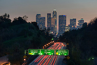 Los Angeles CA, Skyline, Sunset, Twilight, Night, Dusk, 110, Pasadena Freeway