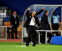 Ghana manager Milovan Rajevac celebrates at the final whistle. Ghana defeated the USA 2-1 in overtime in the 2010 FIFA World Cup at Royal Bafokeng Stadium in Rustenburg, South Africa on June 26, 2010.