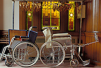Two wheelchairs in church alcove