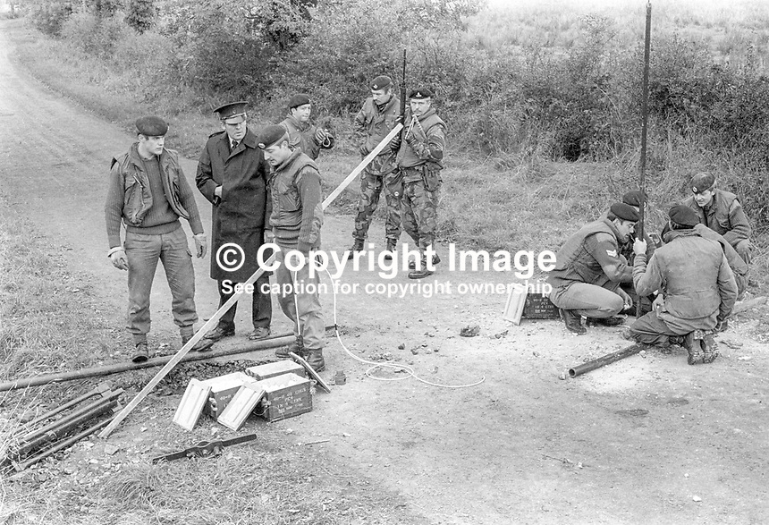 British army sappers lay explosive charges to crater a border road between Co Armagh in N Ireland and Co Monaghan in the Rep of Ireland. The cratering was a measure taken to hamper Provisional IRA gun and bomb attacks. 13th October 1971. 197110130427b<br /> <br /> Copyright Image from Victor Patterson, 54 Dorchester Park, Belfast, UK, BT9 6RJ<br /> <br /> t1: +44 28 9066 1296<br /> t2: +44 28 9002 2446<br /> m: +44 7802 353836<br /> <br /> e1: victorpatterson@me.com<br /> e2: victorpatterson@gmail.com<br /> <br /> www.victorpatterson.com<br /> <br /> IMPORTANT: Please see my Terms and Conditions of Use at www.victorpatterson.com