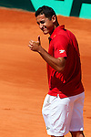 06.04.2012 Oropesa, Spain. 1/4 Final Davis Cup. Nico Almagro reacts during first match of 1/4 final game of Davis Cup played at Oropesa town.